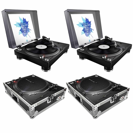 Pioneer DJ PLX-500 (black) with ProX Turntable Cases Duo Package